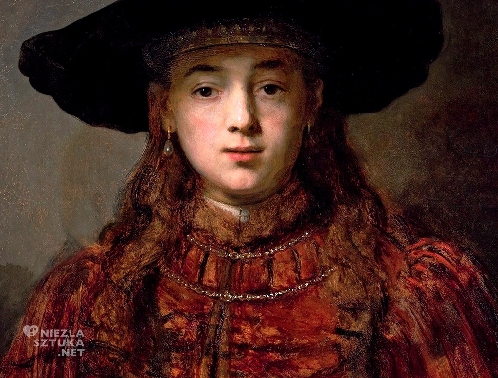 Rembrandt, Dziewczyna w ramie obrazu, detal, malarstwo holenderskie, Niezła Sztuka