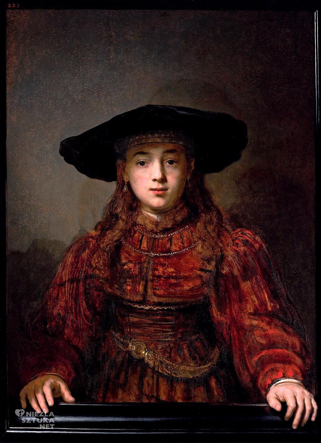 Rembrandt, Dziewczynka w ramie obrazu, malarstwo holenderskie, Niezła Sztuka