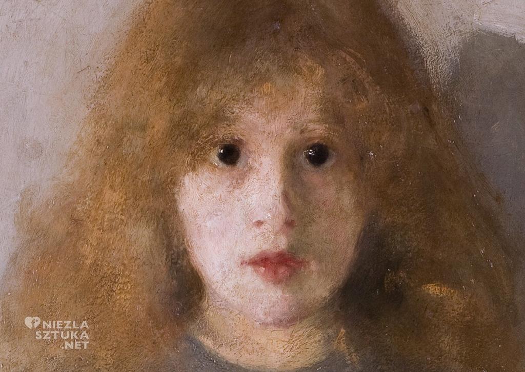 Olga Boznańska, Dziewczynka z chryzantemami, detal, malarstwo polskie, polska sztuka, Niezła Sztuka