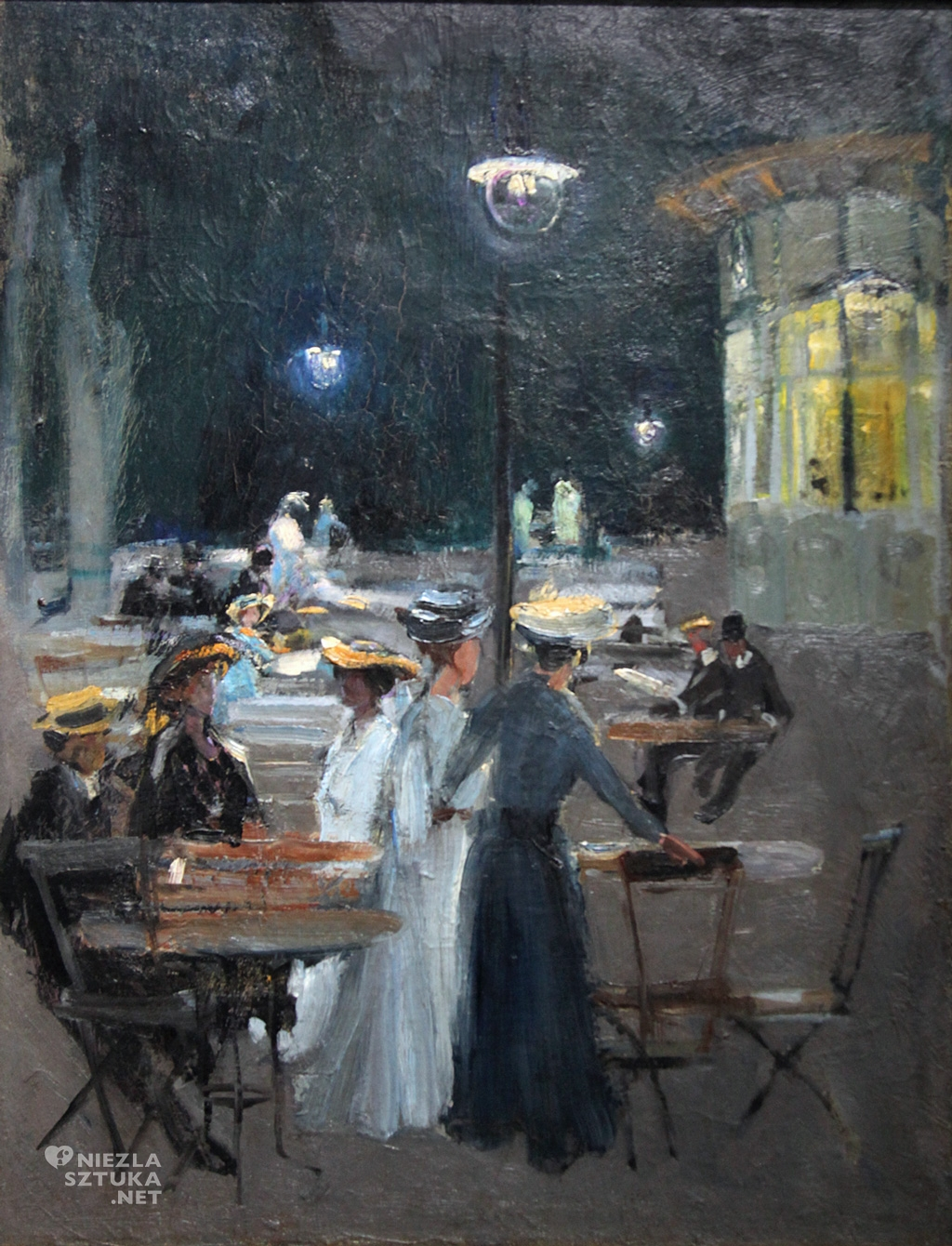 Ludwik de Laveaux, Kawiarnia paryska w nocy, malarstwo polskie, polska sztuka, Niezła Sztuka