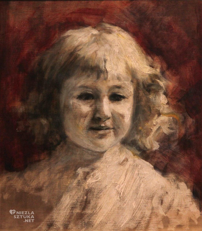 Władysław Podkowiński, Portret dziewczynki (szkic), malarstwo polskie, sztuka polska, Niezła Sztuka