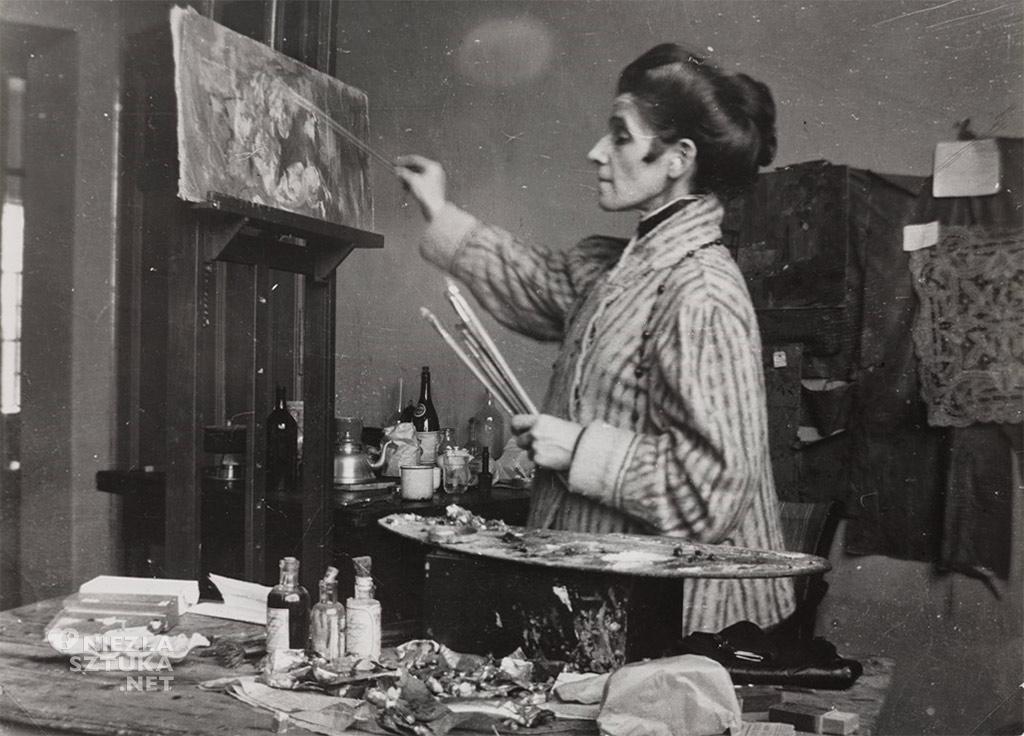 Olga Boznańska w pracowni w Krakowie, 1920, MNW