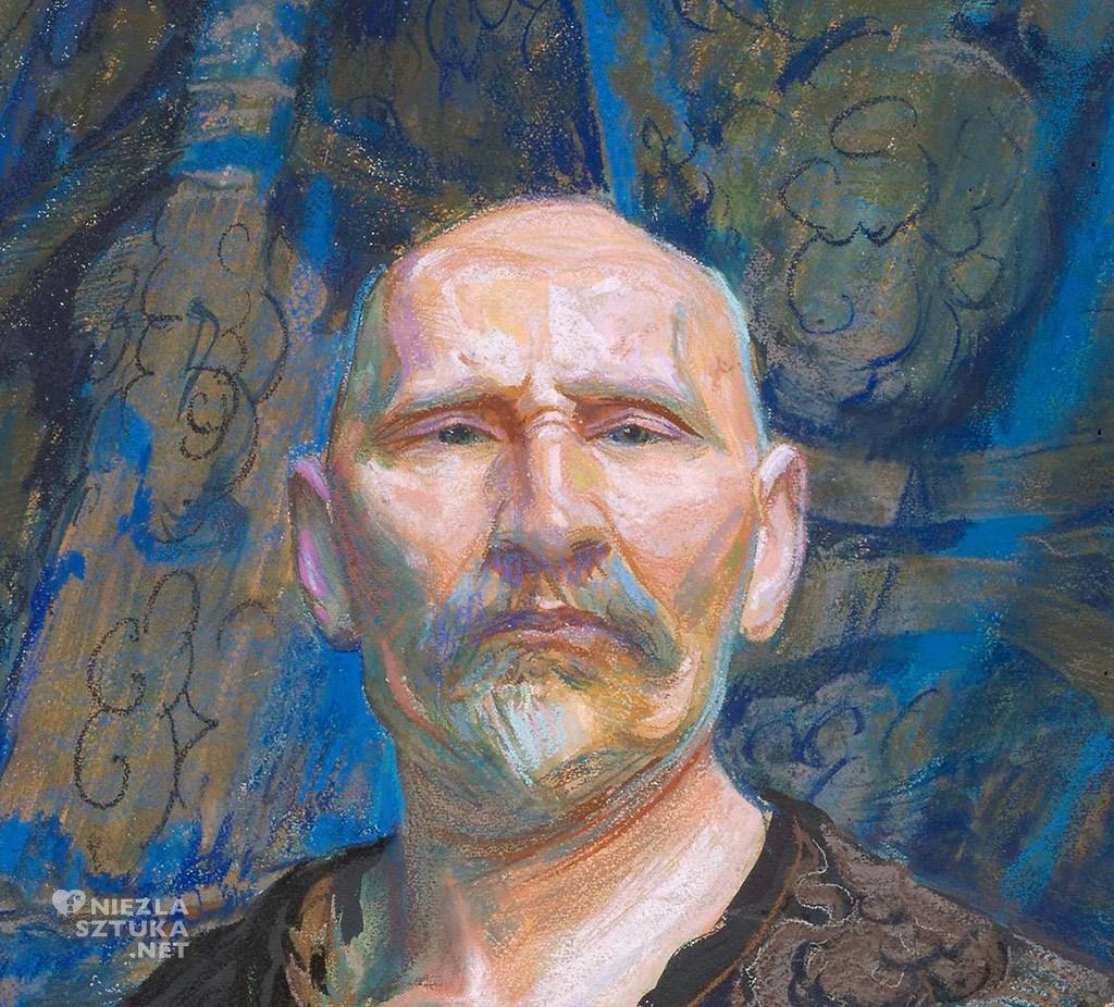 Leon Wyczółkowski, Autoportret w chińskiej szacie męskiej półoficjalnej longpao. Autoportret w chińskim kaftanie, detal, malarstwo polskie, sztuka polska, Niezła Sztuka