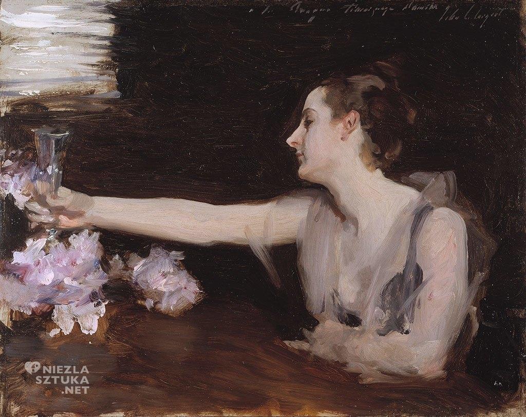 John Singer Sargent <em>Pani Gautreau wznosząca toast</em> 1882-83 | ,<br> Gardner Museum, olej na desce, 32 × 41 cm
