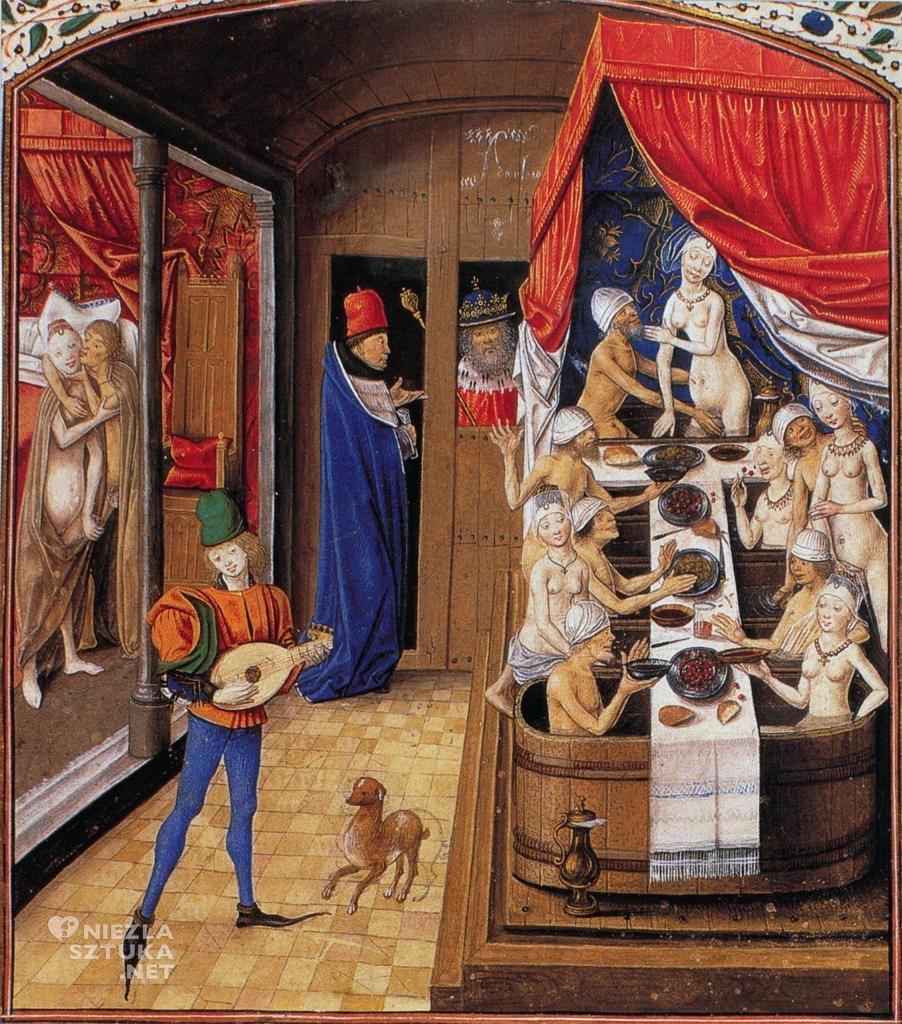 Scena w łaźni, miniatura z rękopisu Factorum et dictorum memorabilium libri novem Waleriusza Maksymusa