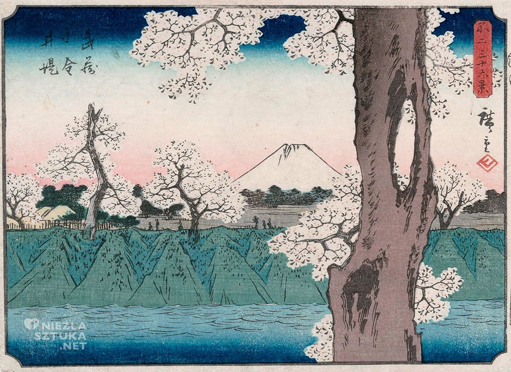 Utagawa Hiroshige, Widok góry Fuji, sztuka światowa, sztuka japońska, Niezła Sztuka