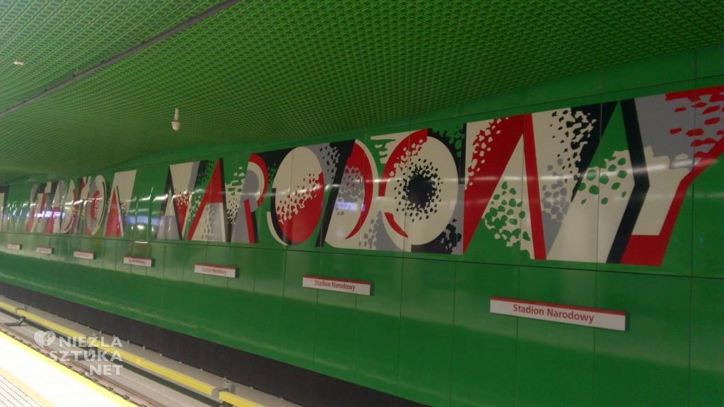 """II linia metra, stacja """"Stadion Narodowy"""", grafika: Wojciech Fangor, fot. warszawa.wikia.com"""