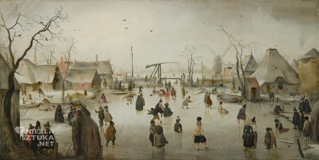Hendrick Avercamp Scena na lodzie | ok. 1610, Mauritshuis, Haga