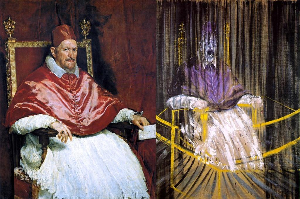 Diego Velázquez <em>Portret papieża Innocentego X</em> | ok. 1650, Galleria Doria Pamphilj, Rzym<br>Francis Bacon <em>Studium portretu papieża Innocentego X</em> | 1953, Des Moines Art Center