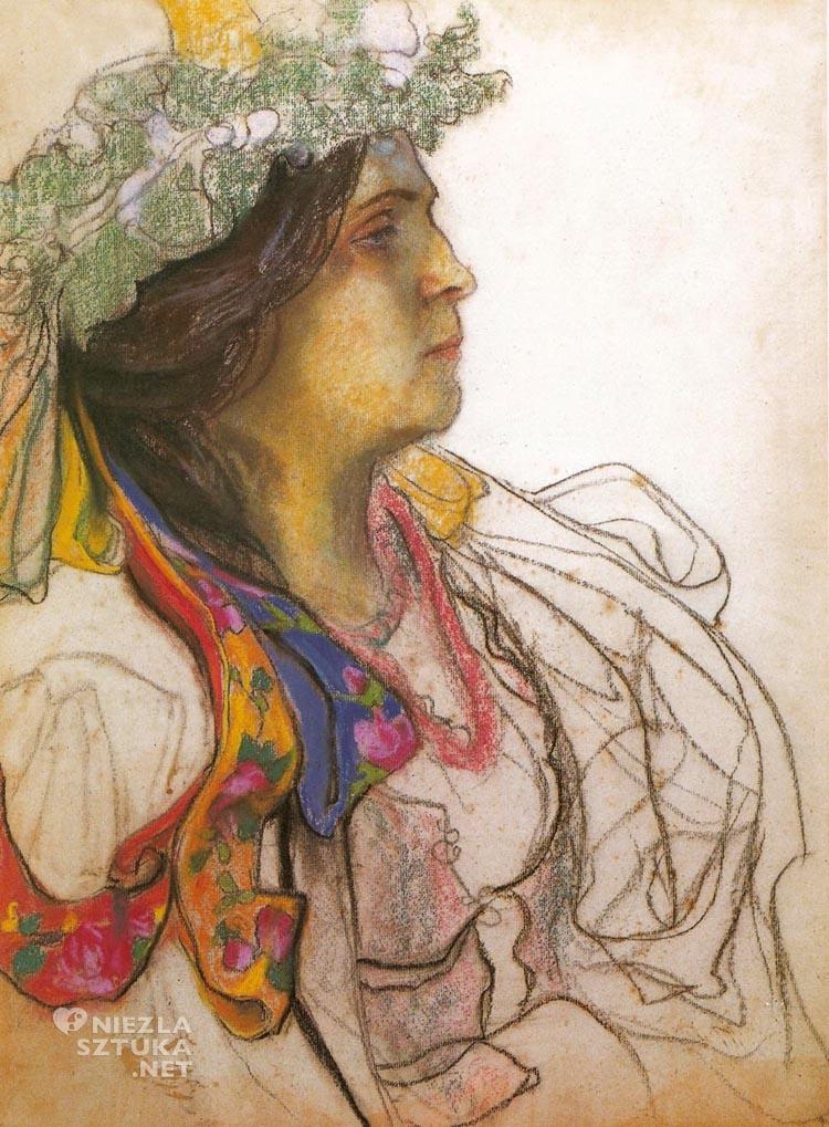 Stanisław Wyspiański Portret Wandy Siemaszkowej jako Panny Młodej z Wesela 1902-1903, Muzeum Górnośląskie w Bytomiu