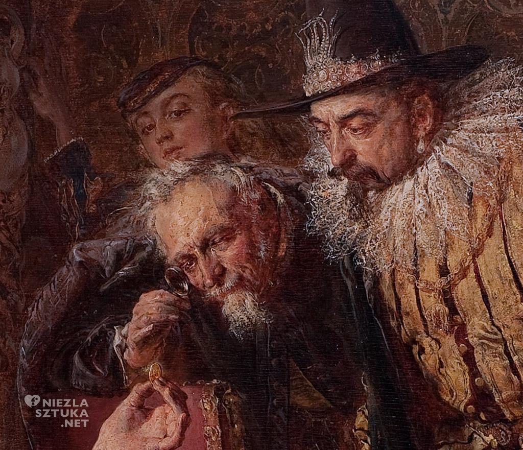 Jan Matejko Alchemik Sędziwój i król Zygmunt III, detal   1867, olej na desce, 72,5 × 130 cm, Muzem Pałac Herbsta