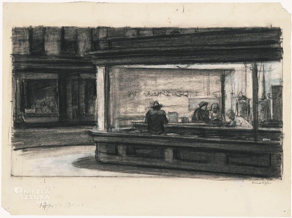 Edward Hopper, Szkic do obrazu Ćmy barowe | 1942