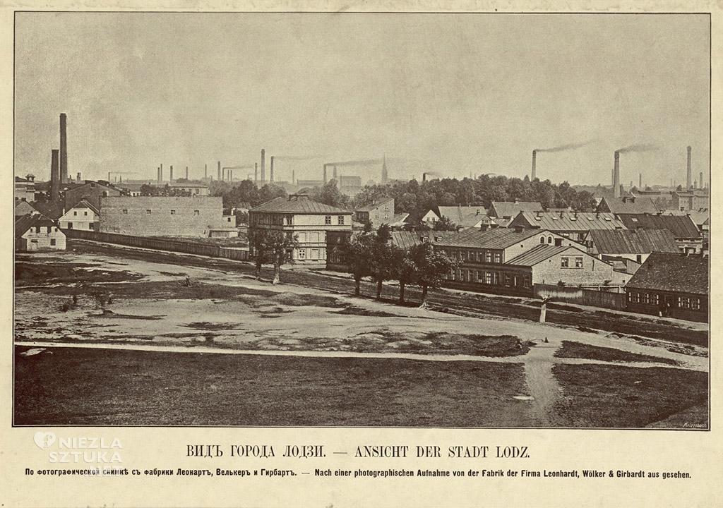 Widok miasta Łodzi. Na podstawie ujęcia fotograficznego wykonanego z fabryki zakładów Leonhardt, Wölker & Girbardt, 1889, fotopolska.eu