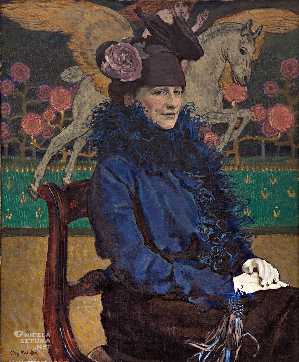 Józef Mehoffer Portret żony artysty z Pegazem  1913, olej na płótnie, 93 × 77 cm, Muzeum Pałac Herbsta (Oddział Muzeum Sztuki w Łodzi)