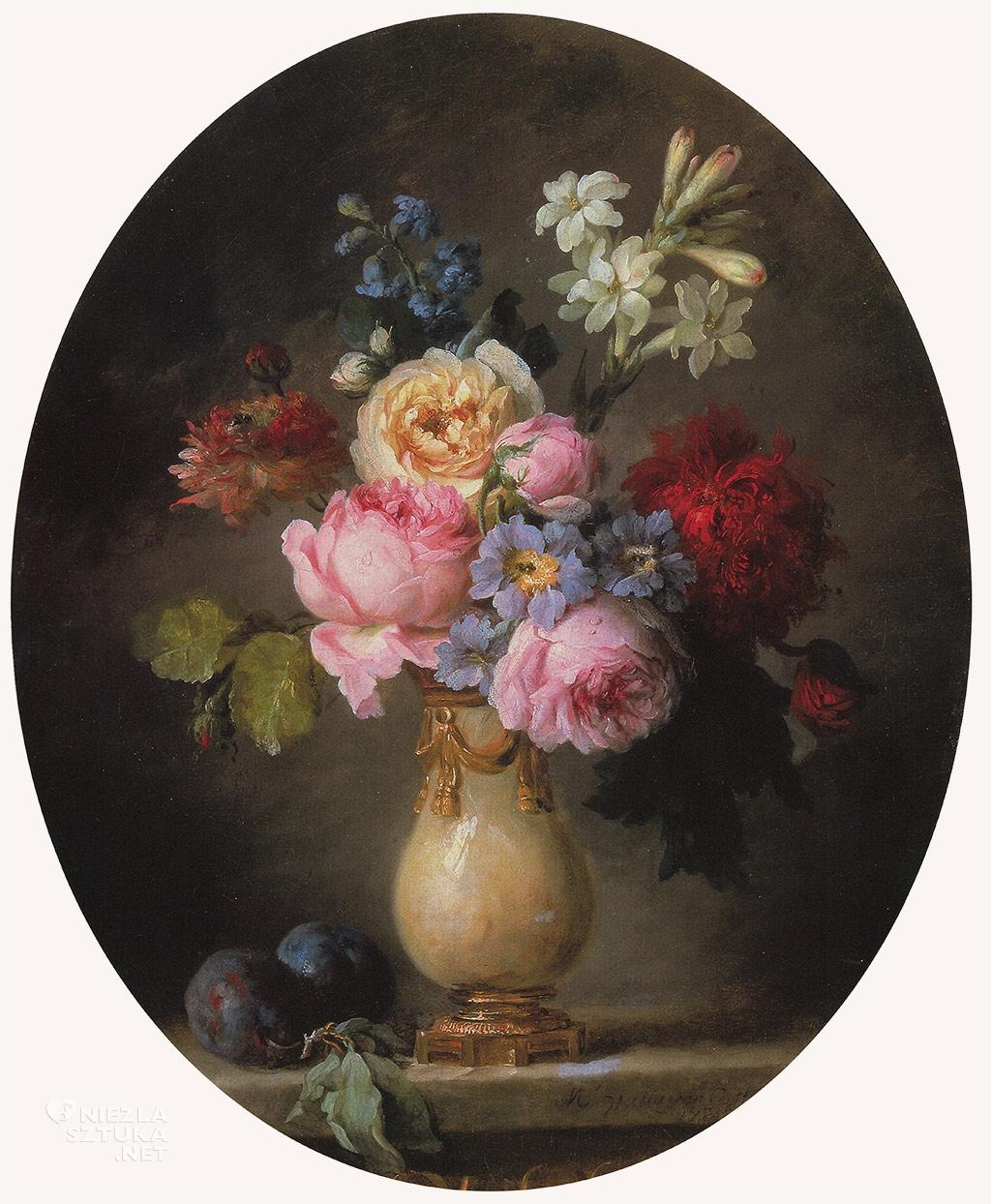 Anne Vallayer-Coster Waza kwiatów i dwie śliwki na marmurowym blacie