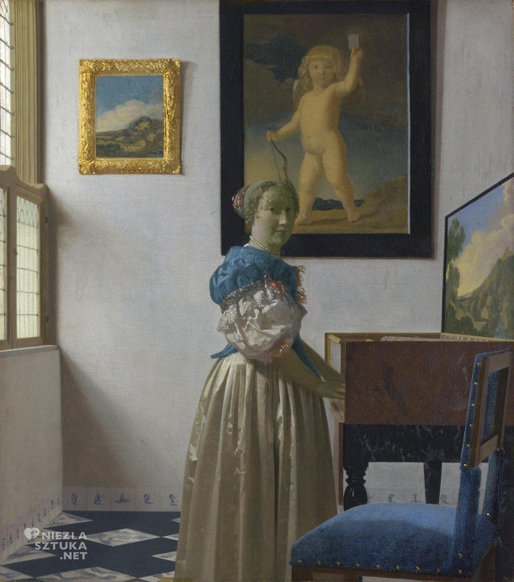 Vermeer Dama stojąca przy wirginale