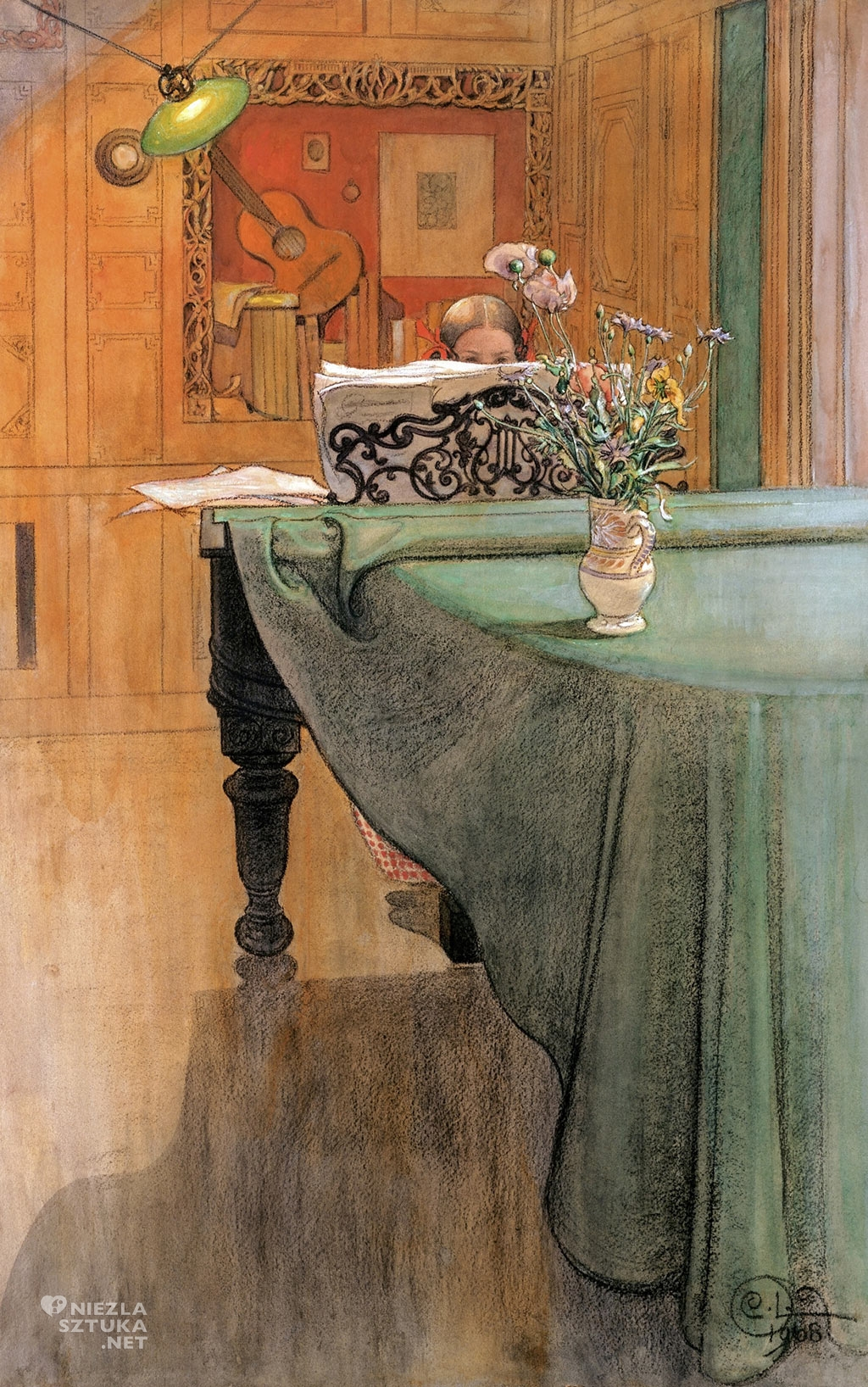 Carl Larsson, Młoda dziewczyna przy fortepianie