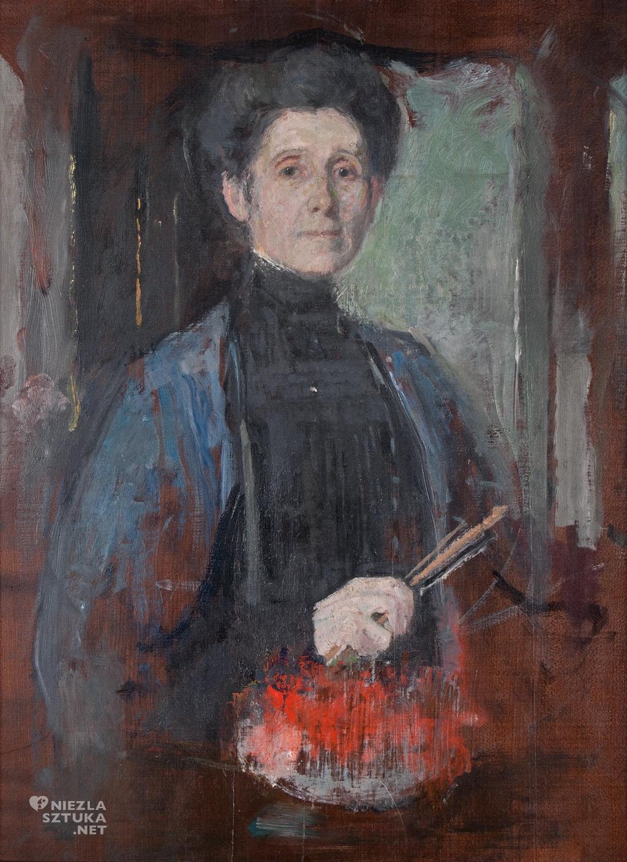 Olga Boznańska Autoportret z pędzlem i kwiatami, ok. 1906