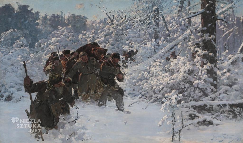 Julian Fałat, Powrót z polowania na niedźwiedzia | 1892, MNW