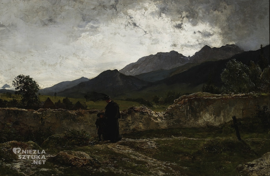 Wojciech Gerson,Cmentarz w górach,malarstwo polskie, sztuka polska, Niezła Sztuka