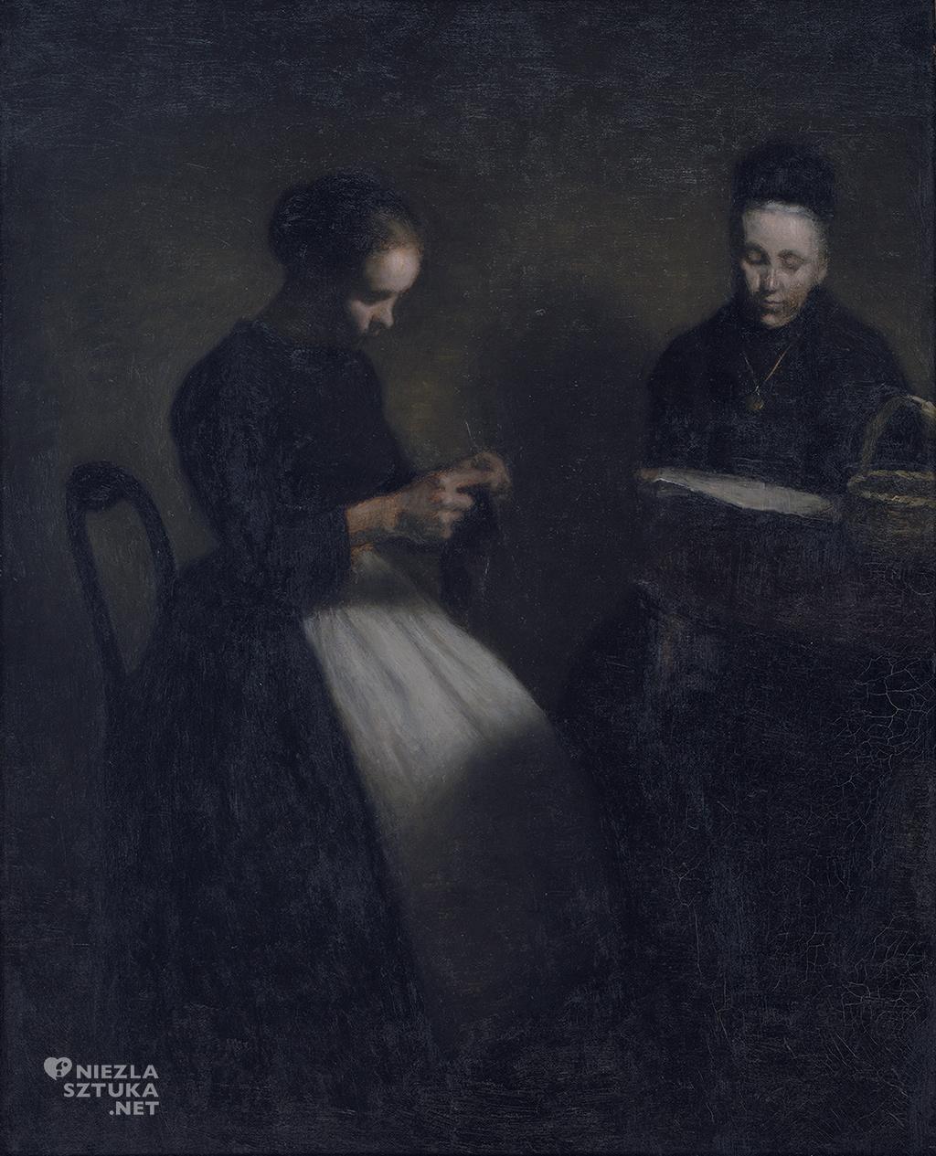 Vilhelm Hammershøi , Wieczór w salonie. Matka i żona artysty, 1891
