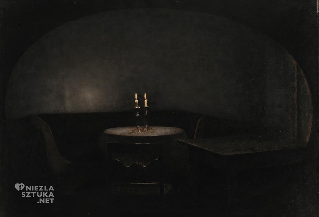 Vilhelm Hammershøi, Wnętrze. Sztuczne światło, 1909