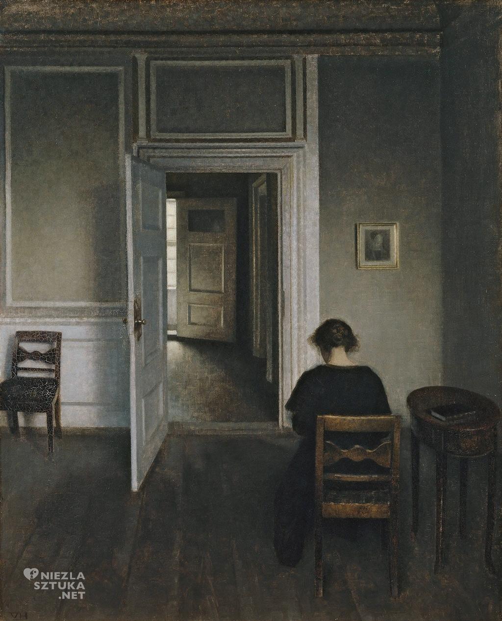 Vilhelm Hammershøi, Wnętrze z siedzącą kobietą, 1908