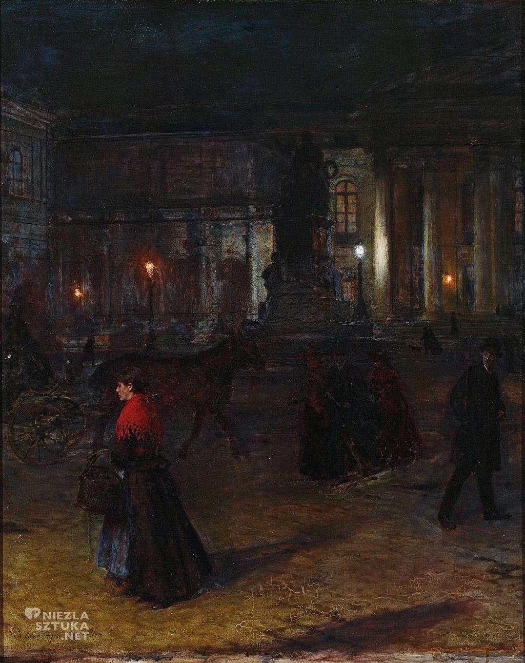 Aleksander Gierymski, Plac Maksymiliana Józefa w Monachium w nocy, malarstwo polskie, sztuka polska, Niezła Sztuka