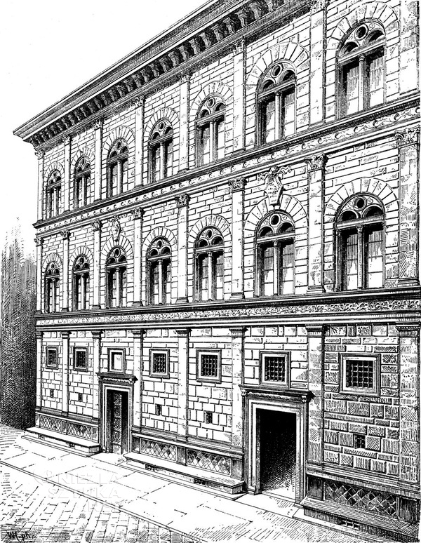 "Rysunek fasady, W. Lübke, Max Semrau ""Grundriss der Kunstgeschichte'' | 1908, fot. wikipedia.org"