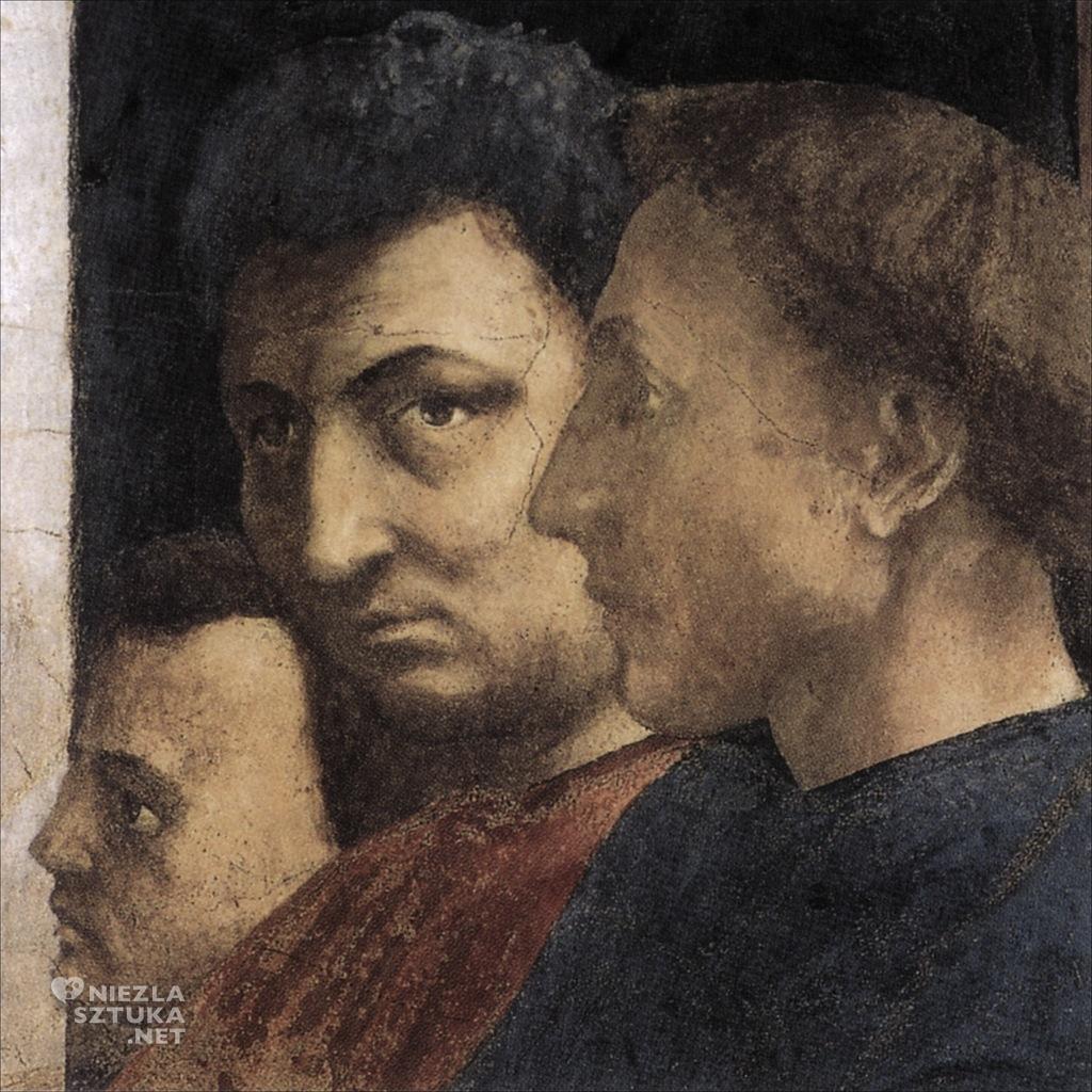 Portret Albertiego (odwrócony profilem, na pierwszym planie) fragment fresku Wskrzeszenie syna Teofila autorstwa Masaccia, Kaplica Brancaccich