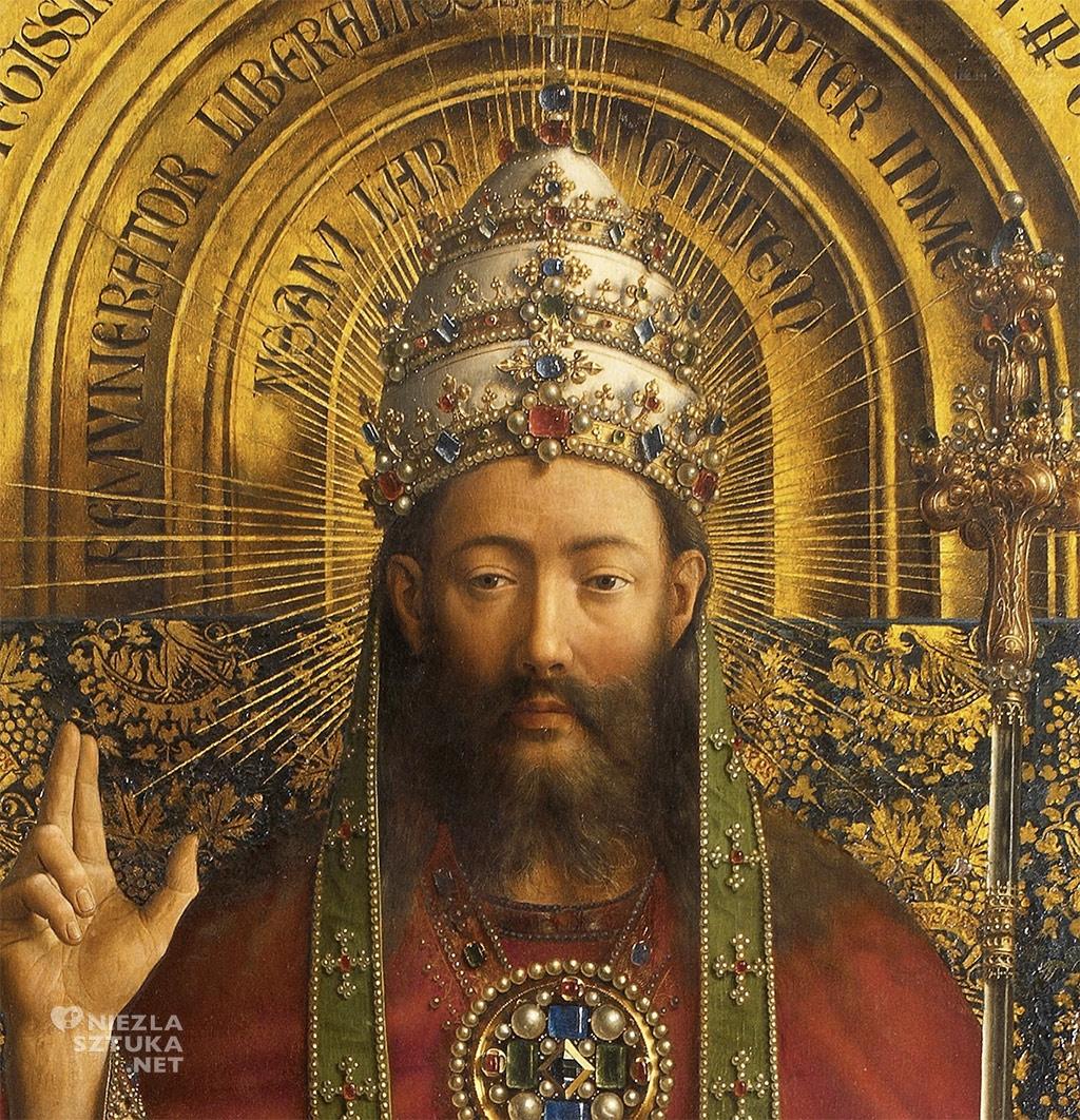 Bóg ojciec // Hubert i Jana van Eyck <em>Ołtarz Gandawski</em>, poliptyk tablicowy, 350 × 500 cm, Katedra Świętego Bawona, Gandawa