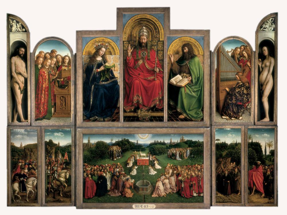 Hubert i Jana van Eyck Ołtarz Gandawski (Adoracja Mistycznego Baranka), poliptyk tablicowy, 350 × 500 cm, Katedra Świętego Bawona, Gandawa
