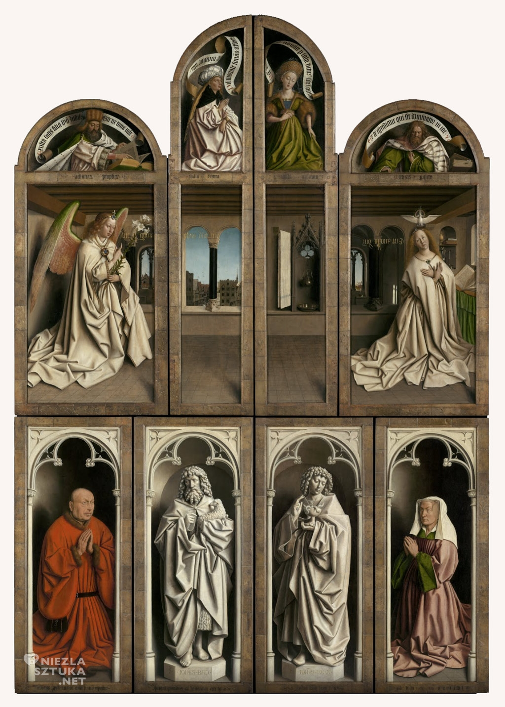 Hubert i Jana van Eyck <em>Ołtarz Gandawski (Adoracja Mistycznego Baranka)</em>, poliptyk tablicowy, 350 × 500 cm, Katedra Świętego Bawona, Gandawa