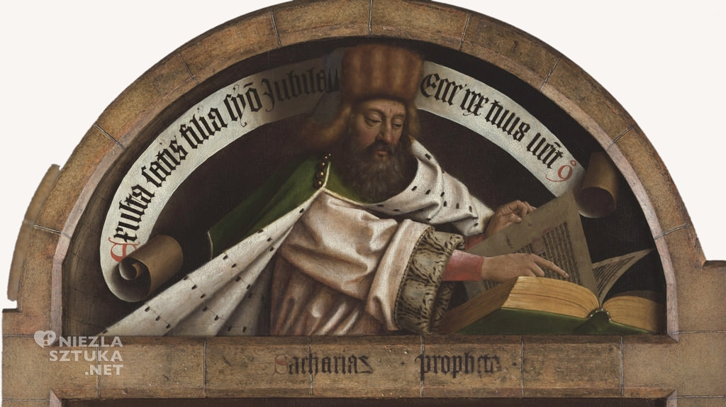 Zachariasz // Hubert i Jana van Eyck <em>Ołtarz Gandawski, detal</em>, poliptyk tablicowy, 350 × 500 cm, Katedra Świętego Bawona, Gandawa