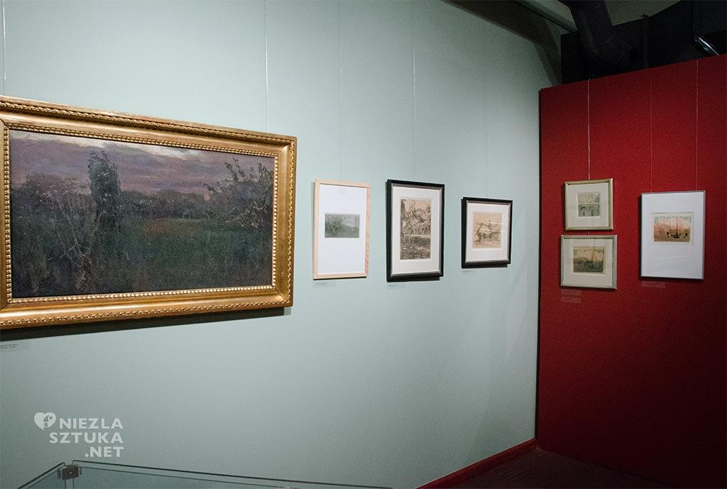 Grafika <em>Zmrok</em> oraz obraz olejny <em>Zmrok</em> na wystawie w Muzeum Miasta Łodzi, fot. Bożena Szafrańska