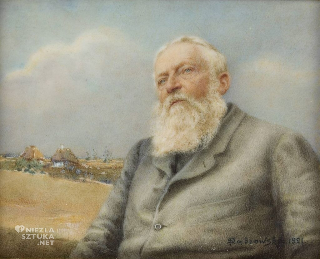Kazimiera Dąbrowska Józef Chełmoński na tle wiejskiego pejzażu | 1921, Muzeum Narodowe w Warszawie