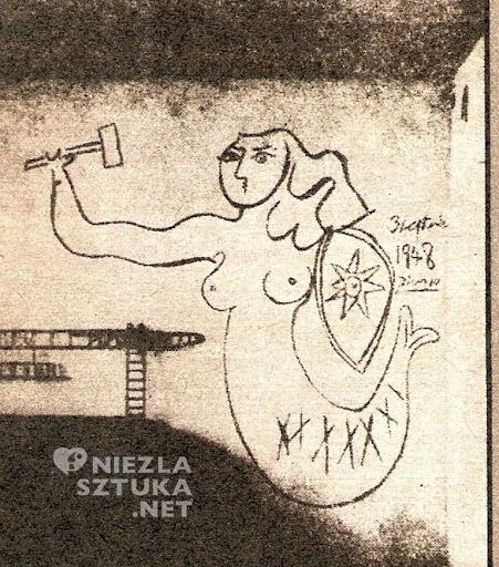 Warszawska Syrenka z młotkiem w dłoni, narysowana na murze w jednym z mieszkań na Kole