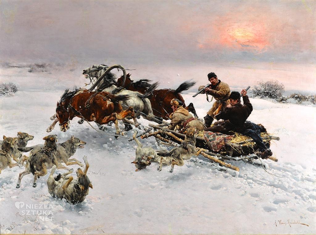 Alfred Wierusz-Kowalski Napad wilków