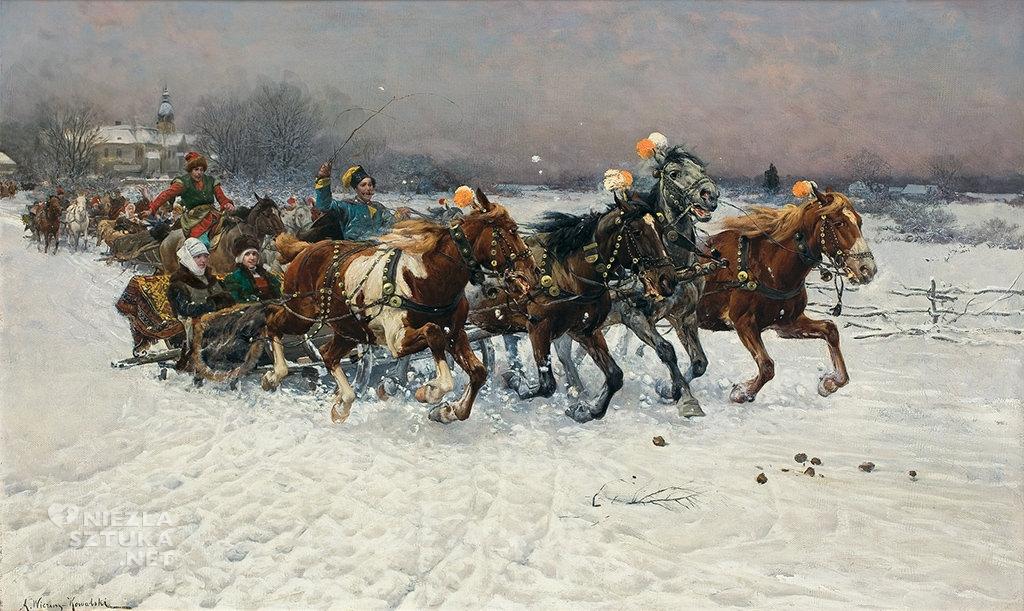 Alfred Wierusz-Kowalski Kulig. Litewska sanna, przed 1883