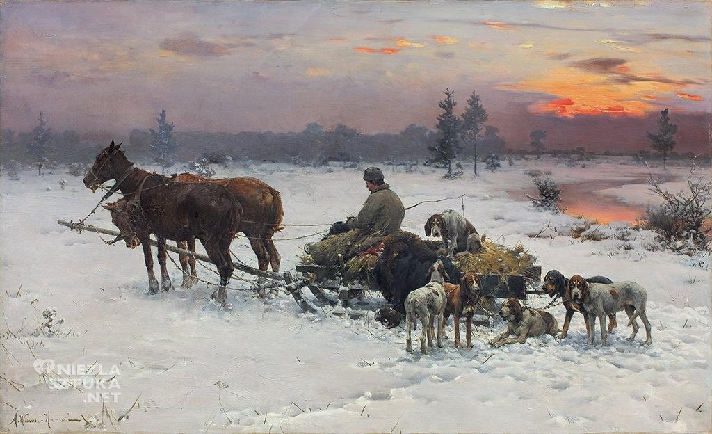 Alfred Wierusz-Kowalski, <em>Czekając na pana (Wyjazd na polowanie)</em>olej, płótno, 62,2 x 100,5 cm, fot. Agra Art