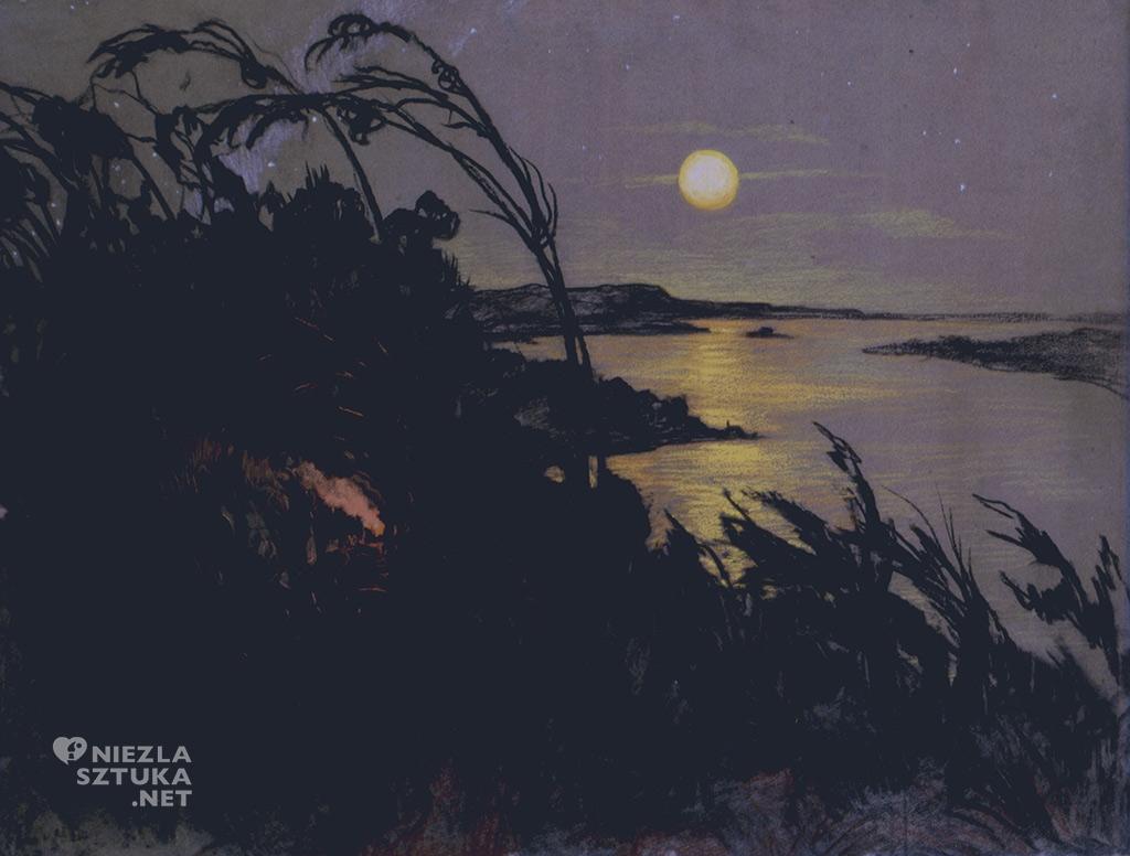 Stanisław Ignacy Witkiewicz, Pejzaż australijski, 1918, pastel, kredka, węgiel, karton, 51.5 x 65.5 cm, Muzeum Literatury w Warszawie