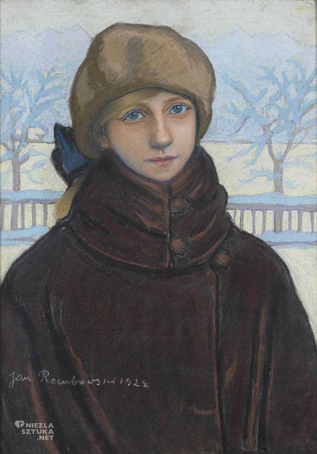 Jan Rembowski Portret Kazimiery Nehring w zimowym pejzażu