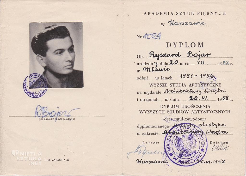 Ryszard Bojar - dyplom ukończenia ASP, fot. Dzięki uprzejmości rodziny R. Bojara