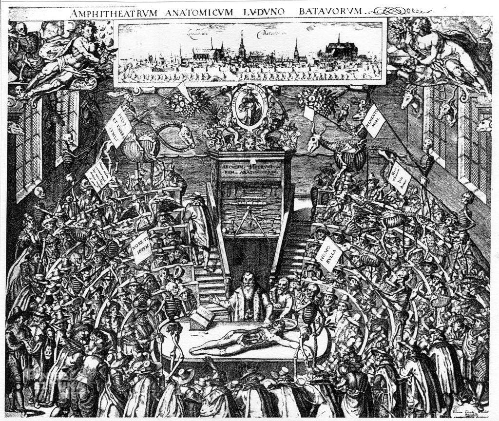 Bartholomeus Dolendo wg Jana Cornelisz.'a Woudanousa, Teatr anatomiczny w Lejdzie, 1609, miedzioryt, 46,6x55,8 cm, Rijksmuseum