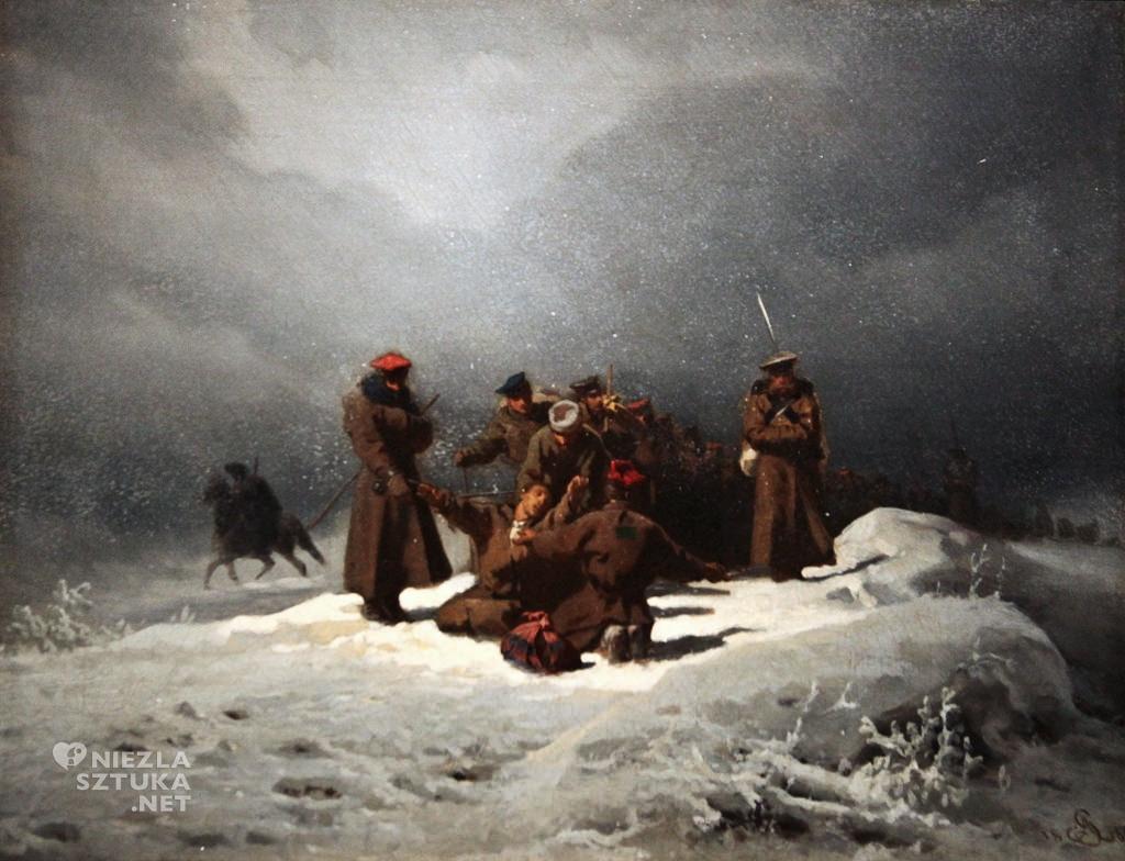 Artur Grottger, Pochód na Sybir, malarstwo polskie, sztuka polska, Niezła Sztuka