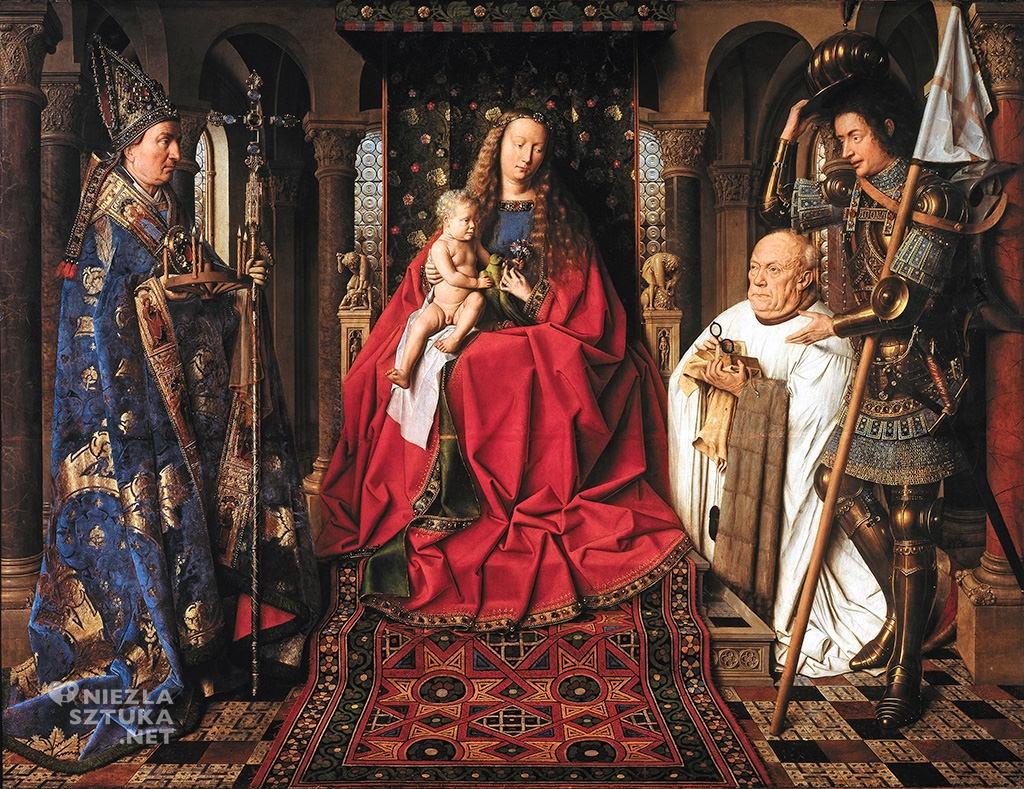 Jan van Eyck, <em>Madonna kanonika Jorisa van der Paele</em>, 1436, olej na desce, 140,8 × 176,5 cm, Groeningemuseum, Brugia