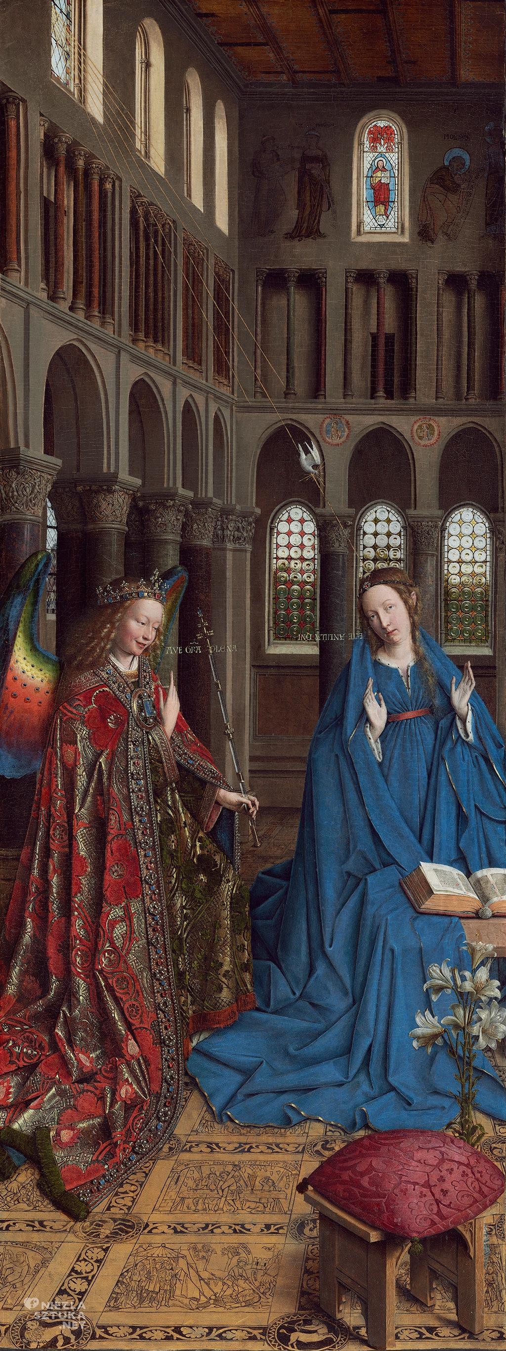 Jan van Eyck, <em>Zwiastowanie</em>,1433-35, olej na desce, 92,7 x 36,7 cm, Waszyngton, National Gallery of Art