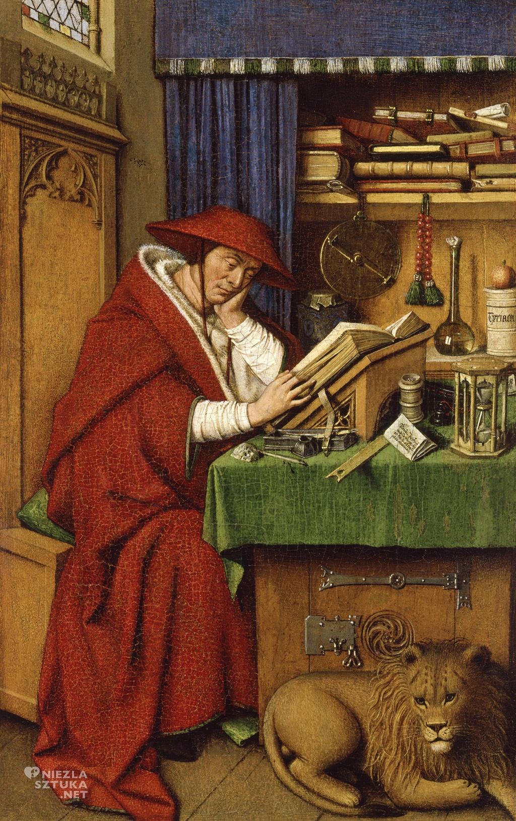 Jan van Eyck i warsztat, <em>Św Hieronim</em>, 1442, olej na desce, 19,9 × 12,5 cm Instytut Sztuki w Detroit