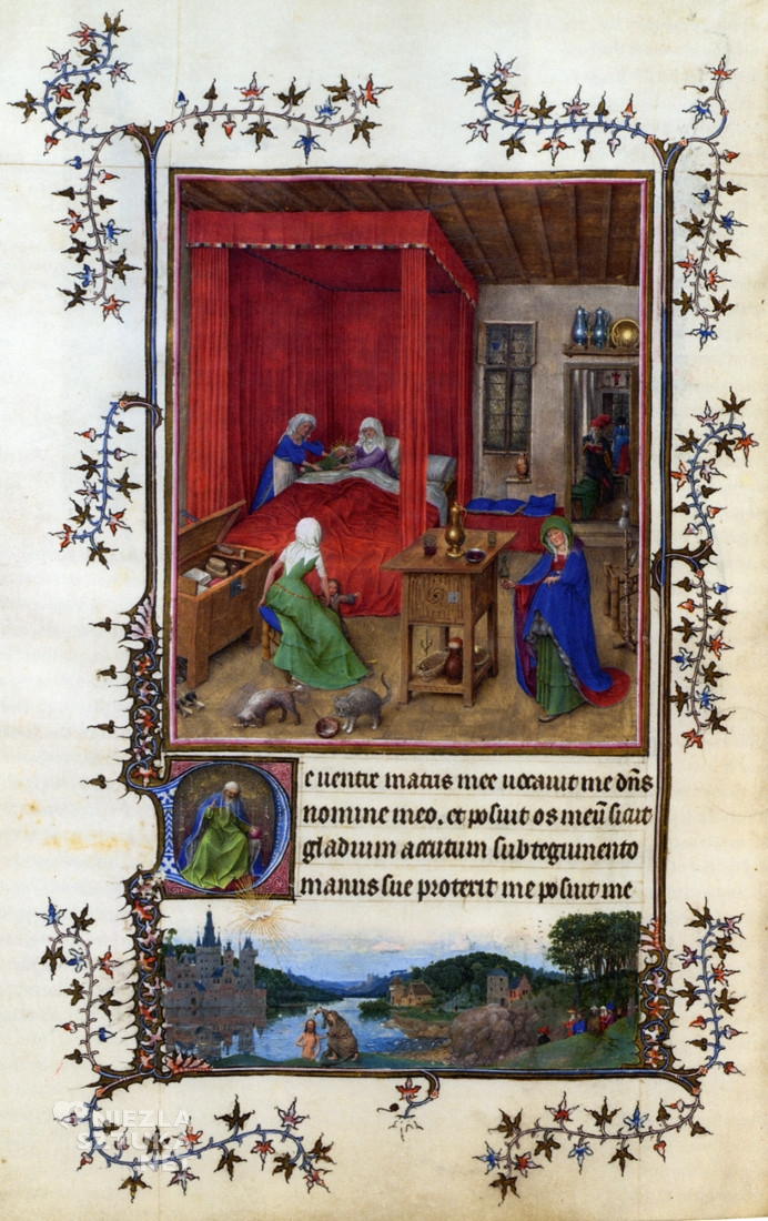 Jan van Eyck i warsztat, <em>Narodziny Jana Chrzciciela</em>, miniatura z Godzinek Mediolańsko-Turyńskich lata 20. XV w., 28 × 20 cm, Museo Civico d'Arte Antica, Turyn