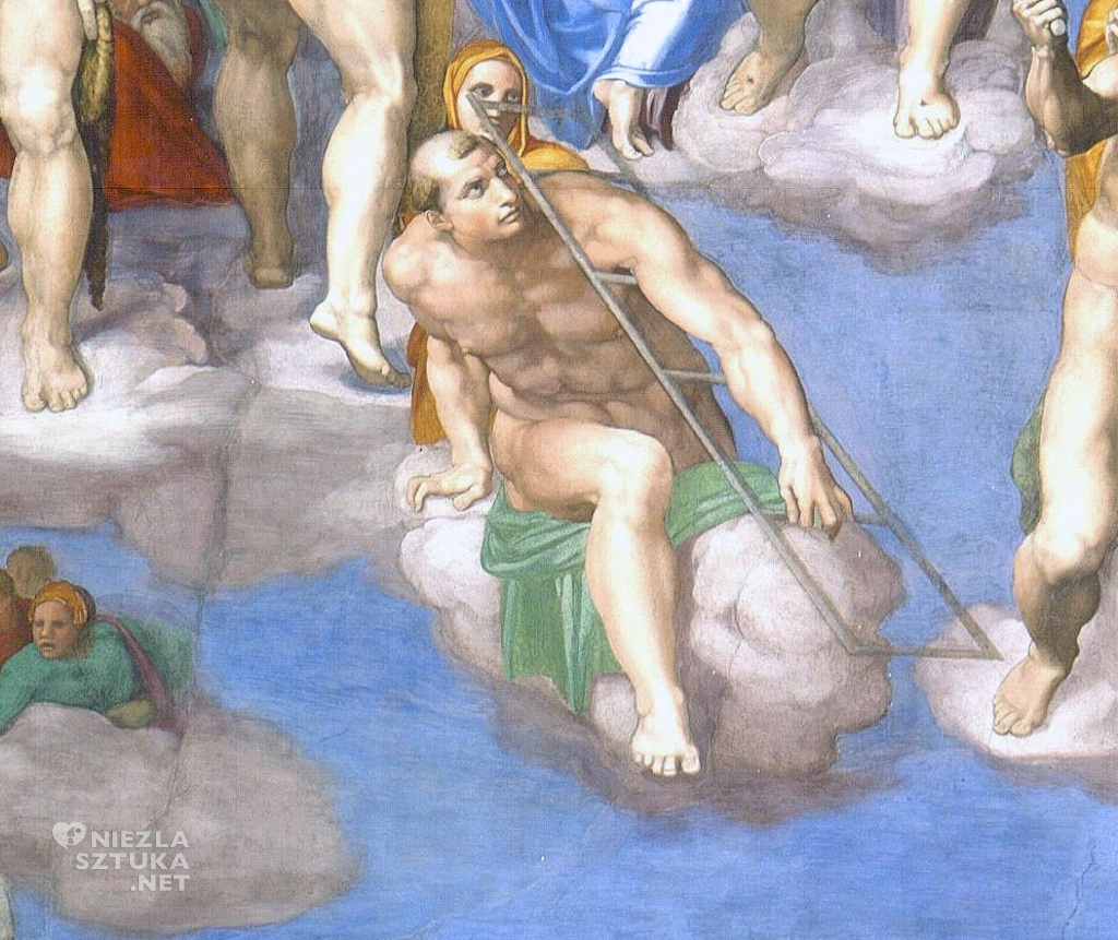 Michał Anioł Sąd Ostateczny, detal ǀ 1536-1541, fresk z Kaplicy Sykstyńskiej w Watykanie